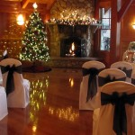 Winter wedding ceremony in the Cypress Room at Tewksbury Country Club, Tewksbury, MA
