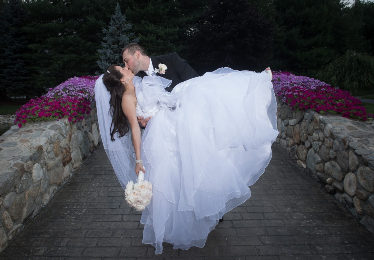 Wedding Kiss on the Bridge at Tewksbury Country Club