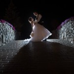 Bride and Groom on the Bridge with Flowers at Tewksbury Country Club