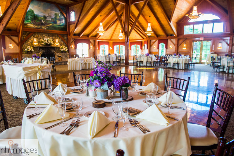 Tables in the Grand Ballroom at Tewksbury Country Club.