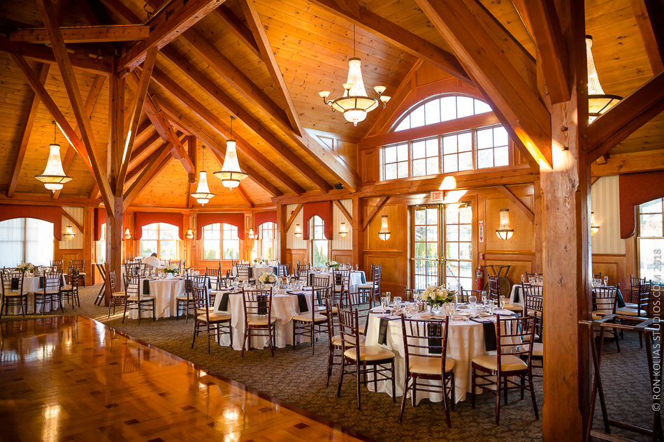 Tables set for a wedding in the Grand Sequoia Ballroom at Tewksbury Country Club.
