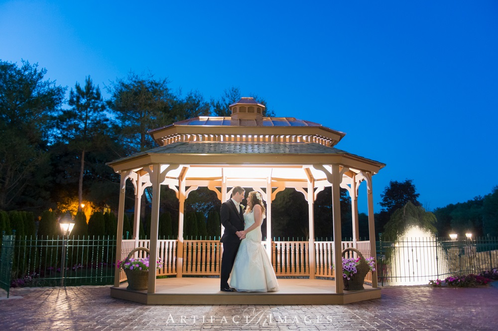Bride & Groom in Gazebo - Evening