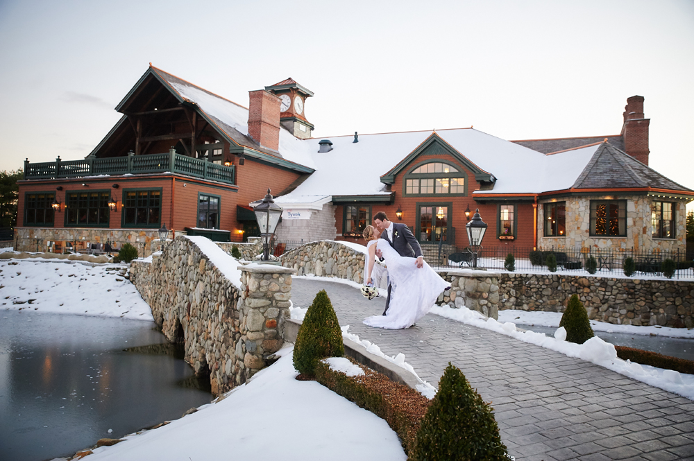 Romantic Moment at a Winter Wedding at Tewksbury Country Club