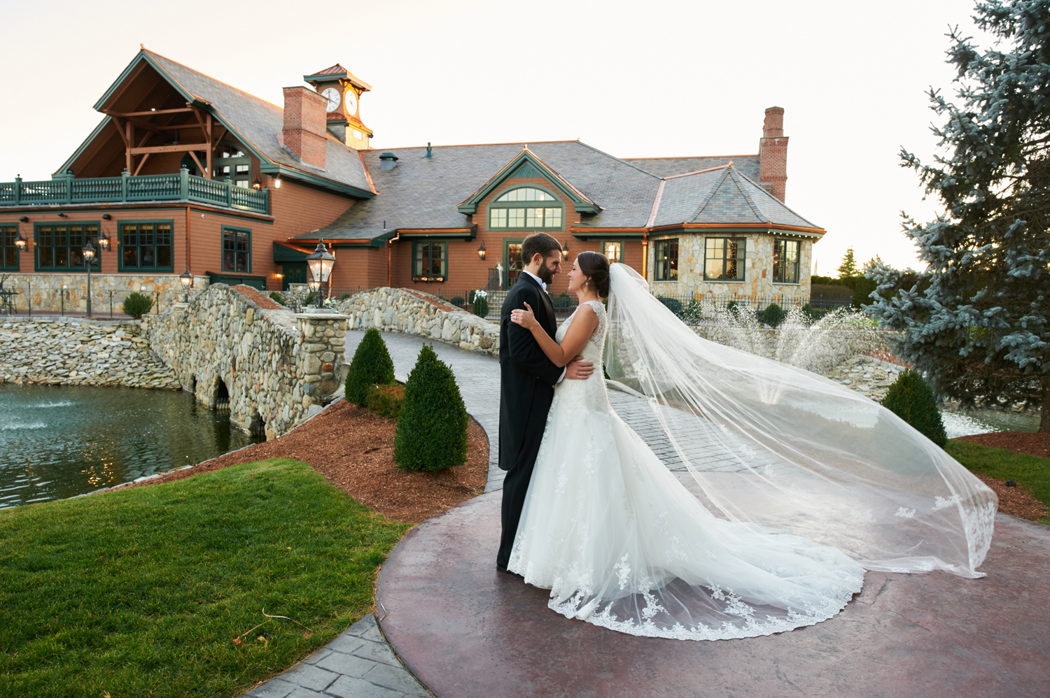 Wedding at Tewksbury Country Club, Bride & Groom on Bridge