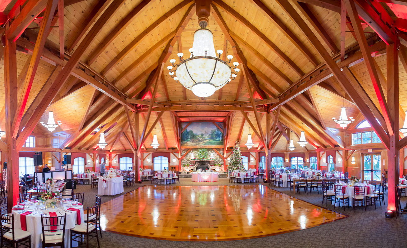 Ballroom at Tewksbury Country Club Set for a Winter Wedding