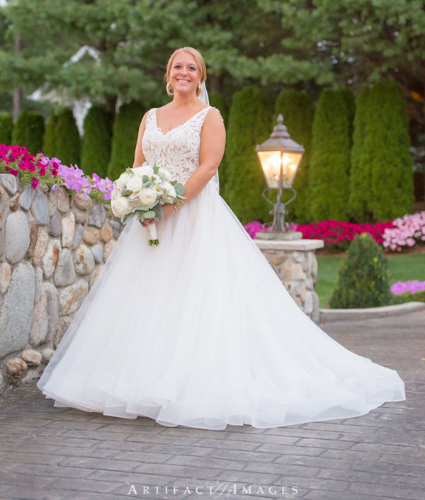 Bride on the Stone Bridge at Tewksbury Country Club