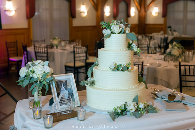 Wedding Cake with Roses at Tewksbury Country Club