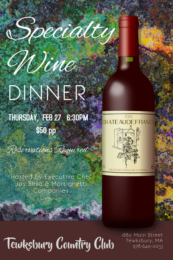 Specialty Wine Dinner at Tewksbury Country Club
